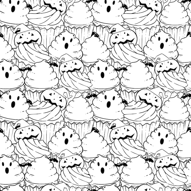 Patrón De Libro De Colorear De Halloween Con Pastelitos De
