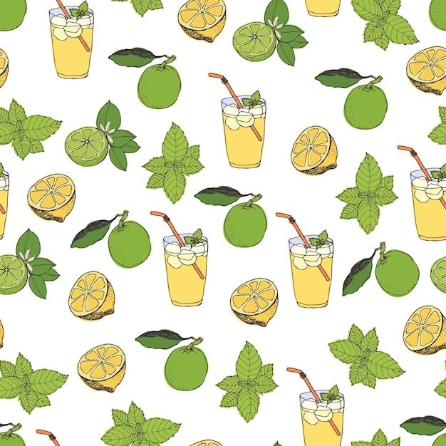 Patrón de limonada vector gratuito