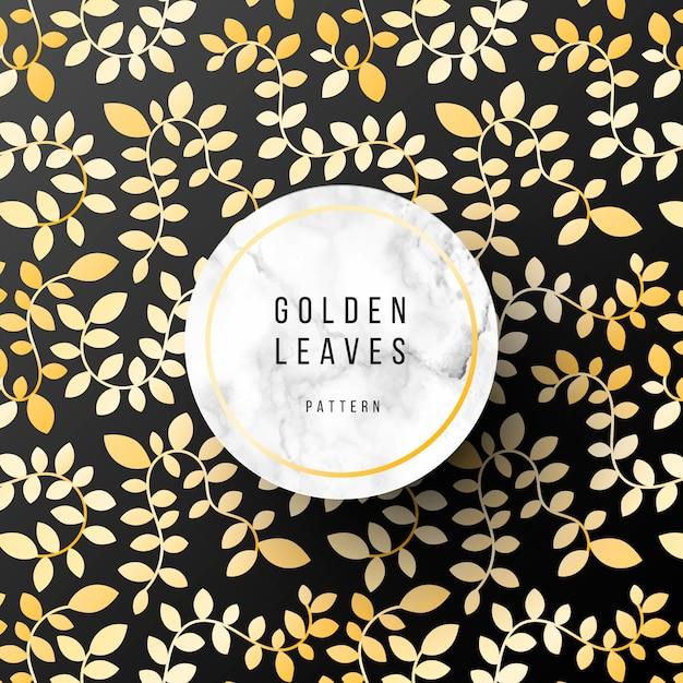 Patrón lujoso con hojas doradas. vector gratuito