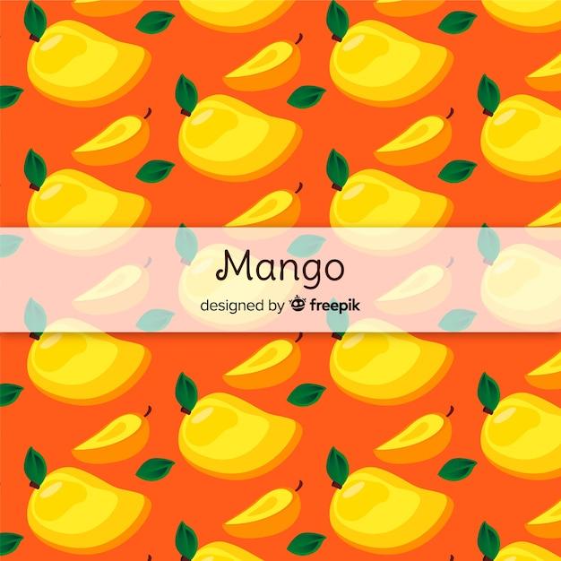 Patrón mango y hojas dibujado a mano vector gratuito