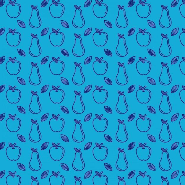 Patrón de manzanas y peras frescas vector gratuito