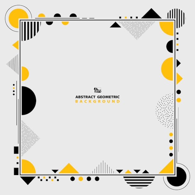 Patrón de marco geométrico amarillo y negro. Vector Premium