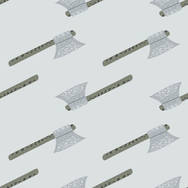 Patrón minimalista sin fisuras con adorno estilizado hacha vikinga Vector Premium