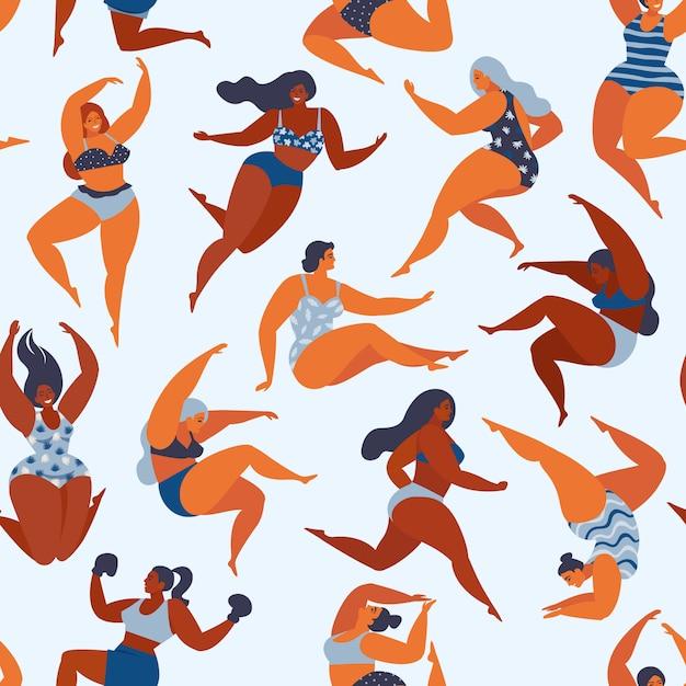 Patrón de moda con chicas en trajes de baño de verano. Vector Premium