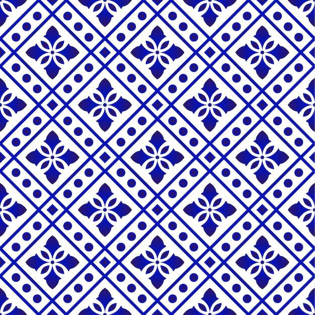 Patrón de mosaico azul y blanco Vector Premium
