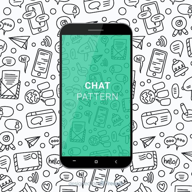 Patron móvil de chat dibujado a mano vector gratuito