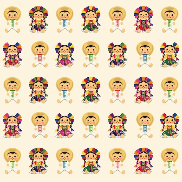 Patrón de muñecas maria tradicional mexicana Vector Premium