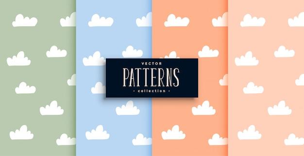 Patrón de nubes lindo en colores pastel vector gratuito