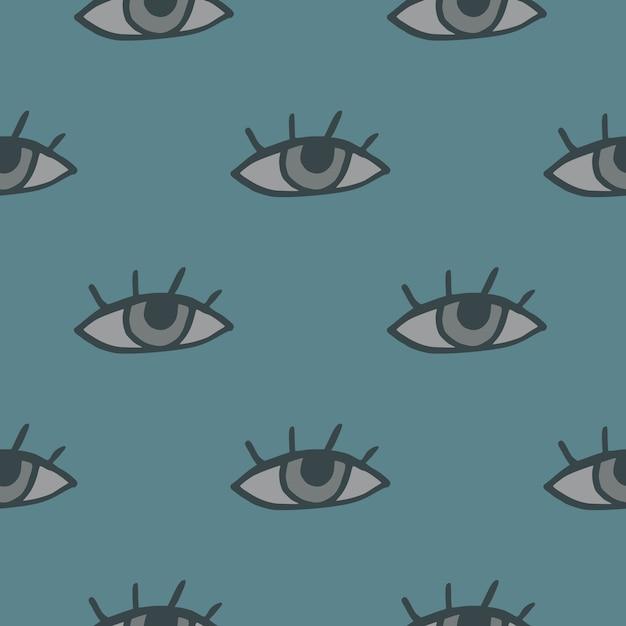 Patrón de ojo sin costura minimalista. fondo azul pálido pastel con elementos grises. Vector Premium