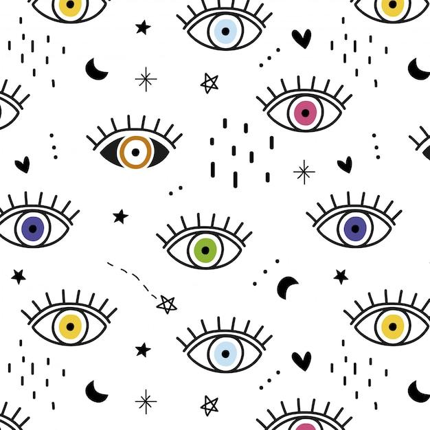 Patron para ojos coloridos dibujados a mano Vector Premium