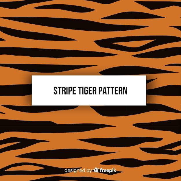 Patrón original de tigre con diseño plano vector gratuito