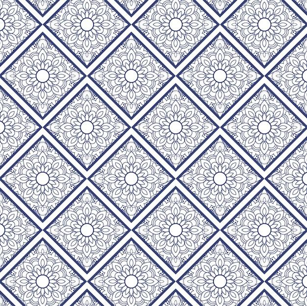 Patrón ornamental con mandalas y cuadrados   Descargar Vectores gratis