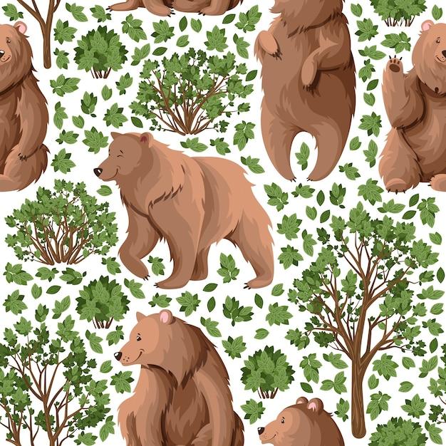 Patrón con osos en el bosque. Vector Premium
