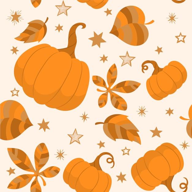 Patrón de otoño con calabazas y hojas Vector Premium