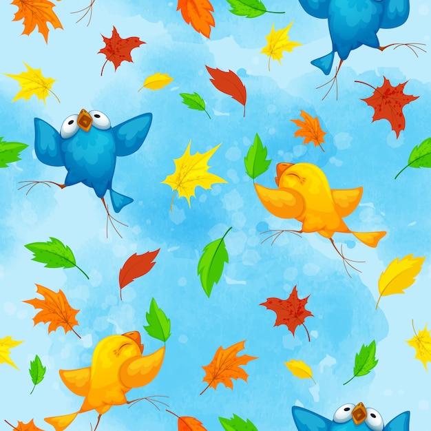 Patrón de otoño con divertidos pájaros bailando y brillantes hojas caídas Vector Premium