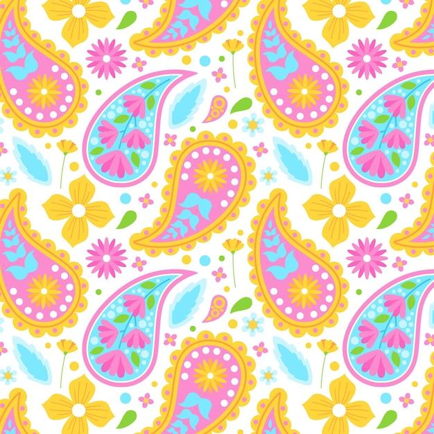 Patrón de paisley colorido vector gratuito