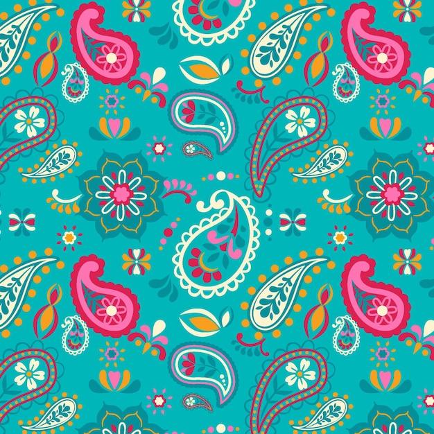 Patrón de paisley de decoración floral adornado vector gratuito