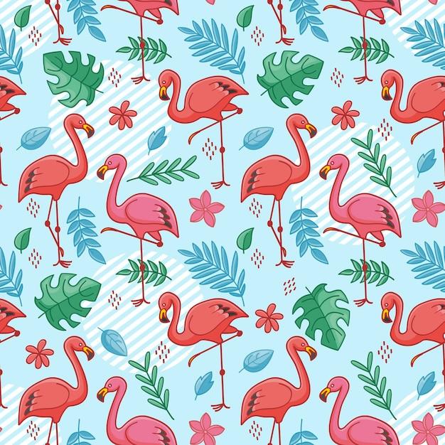 Patrón de pájaro flamenco con hojas tropicales Vector Premium