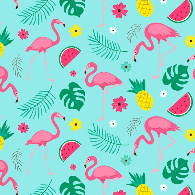 Patrón de pájaro flamenco rosado con hojas tropicales ilustradas vector gratuito