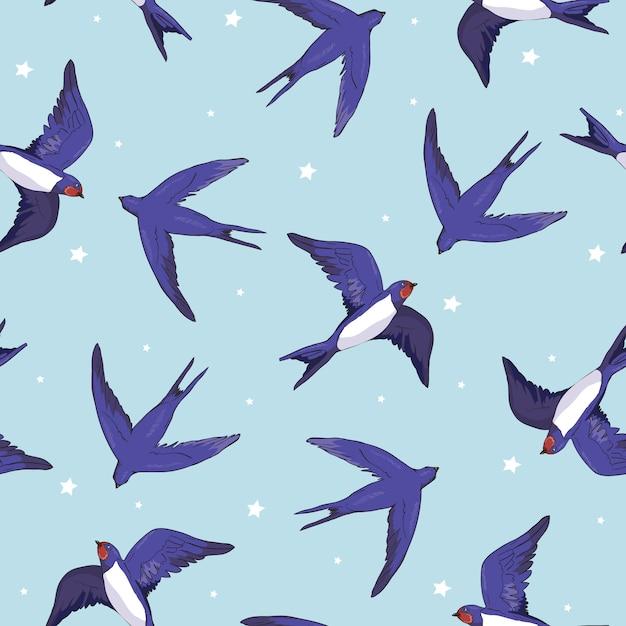 Patrón de pájaro golondrina Vector Premium