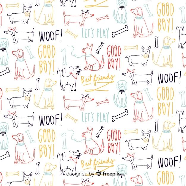 Patrón palabras y animales dibujado a mano vector gratuito