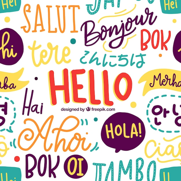 Patrón de palabras de hola en lenguajes diferentes vector gratuito