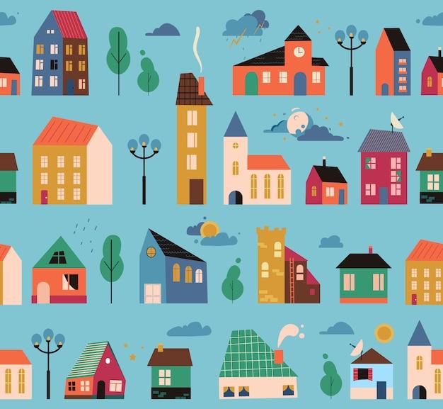 Patrón de pequeñas casas diminutas, cubierta - calles con edificios, árboles y nubes. dibujos animados de casas geométricas de patrones sin fisuras. dibujado a mano ilustración de moda. Vector Premium