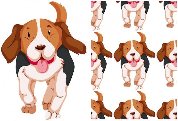 Patrón de perro sin costuras aislado en blanco vector gratuito