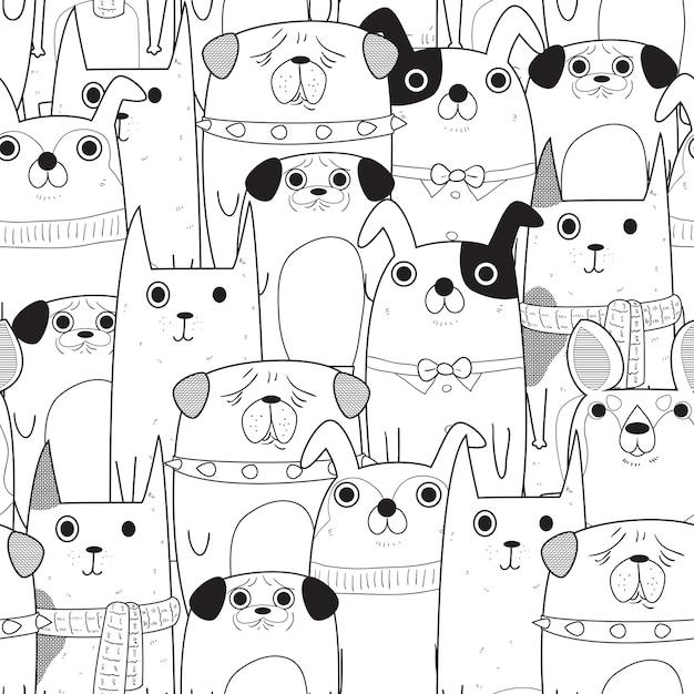 Patrón De Perros Sin Costuras Descargar Vectores Premium