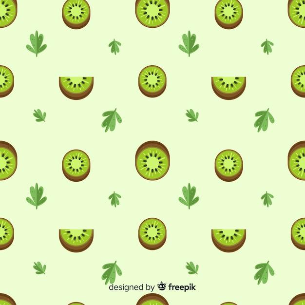 Patrón plano kiwis y hojas vector gratuito