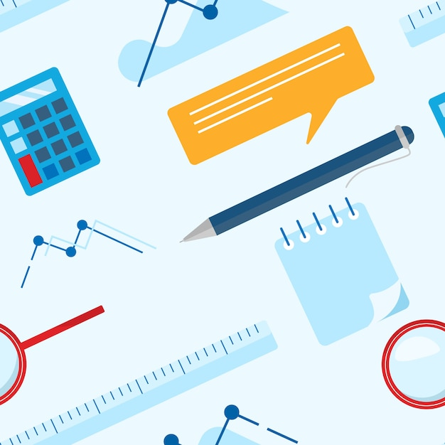 Patrón plano de negocios con bloc de notas, calculadora, regla, lupa, bolígrafo y tabla Vector Premium