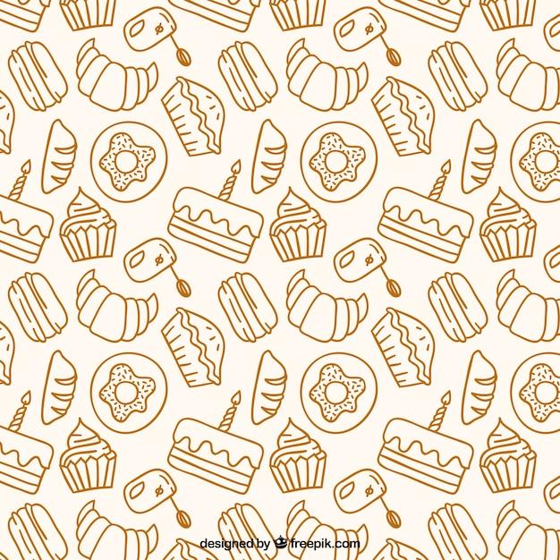 Patrón de productos de panadería dibujados a mano vector gratuito