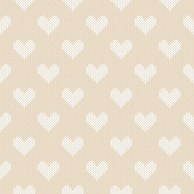 Patrón de punto de invierno con corazones. fondo transparente de san valentín Vector Premium