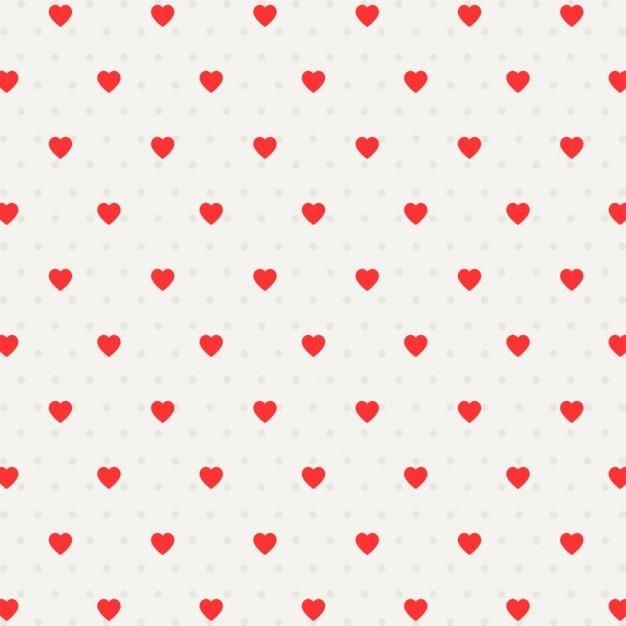 Patrón con puntos y corazones | Descargar Vectores gratis