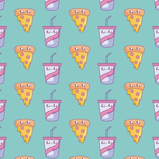 Patrón de rebanada de pizza con botellas de bebidas estilo kawaii Vector Premium