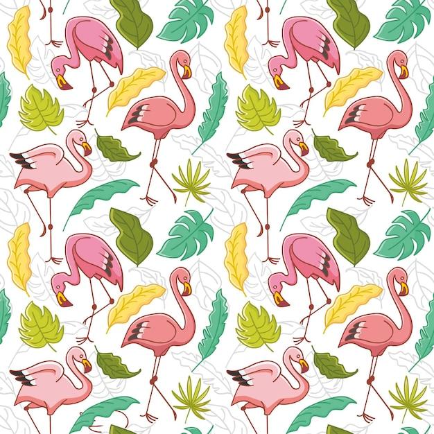 Patrón repetitivo de pájaro flamenco rosado con hojas tropicales Vector Premium