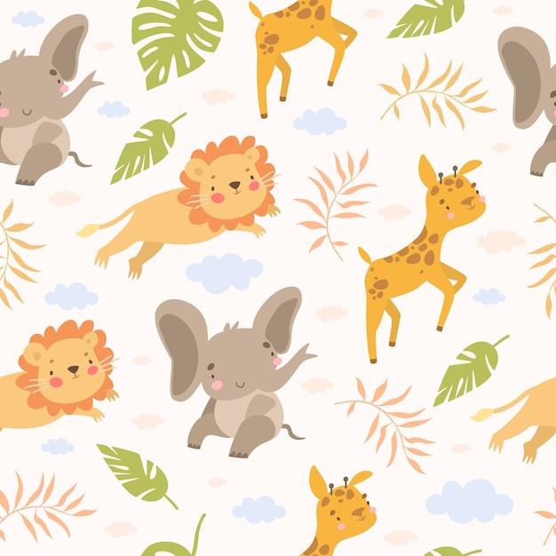 Patrón de safari sin costuras con animales vector gratuito