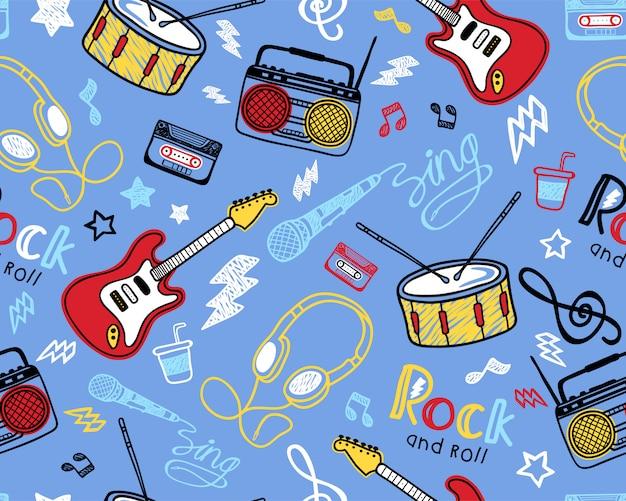 Patrón de seamles con instrumento musical dibujado a mano. Vector Premium