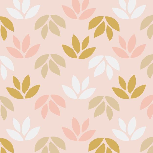 Patrón simple de hojas sobre fondo rosa vector gratuito