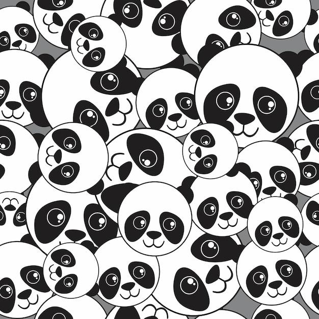 Patrón sin costuras cabeza de panda | Descargar Vectores Premium