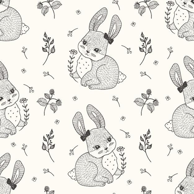 Patrón sin costuras de conejo bonito   Descargar Vectores Premium