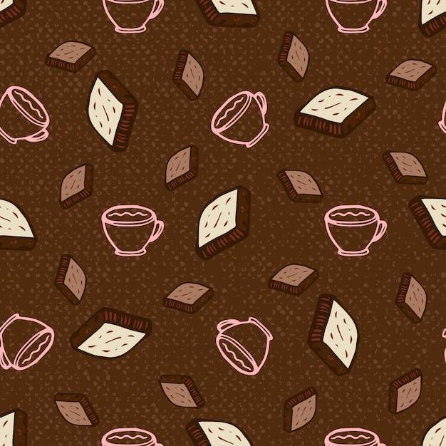 Patrón Sin Fisuras Con Café Y Chocolate. Ilustración De