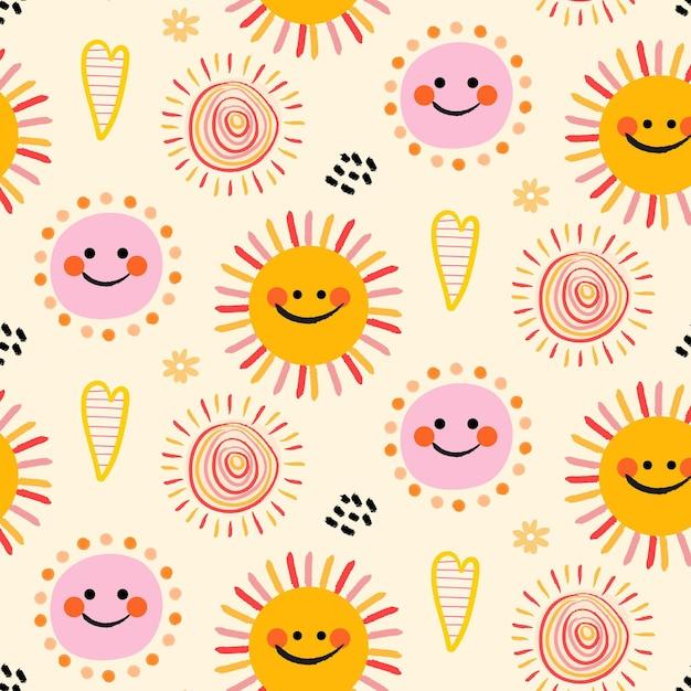 Patrón de sol dibujado a mano vector gratuito