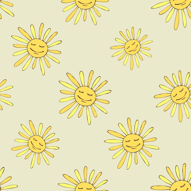 Patrón con sol feliz. arte de diseño de verano soleado. vector gratuito