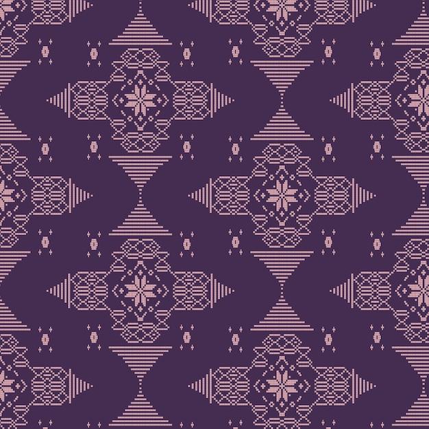 Patrón de songket tradicional púrpura Vector Premium