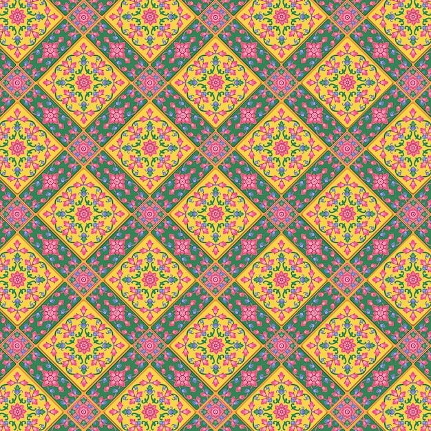 Patrón supremo de fondo tailandés premium. lleno de colores se utiliza para decorar las paredes de las iglesias y templos en las tradiciones tradicionales tailandesas. Vector Premium
