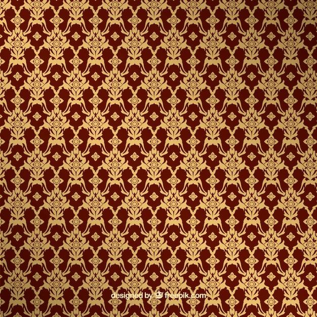 Patrón tailandés elegante con estilo dorado vector gratuito
