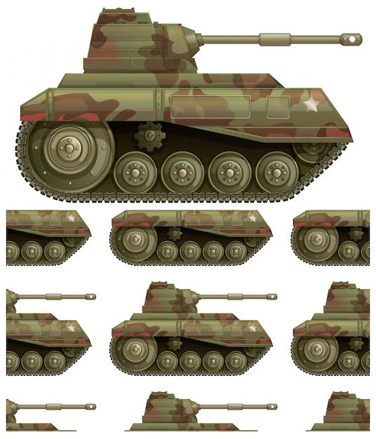 Patrón de tanque sin costura aislado en blanco vector gratuito
