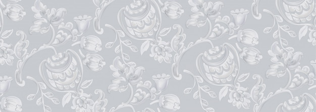 Patrón de textura rococó Vector Premium