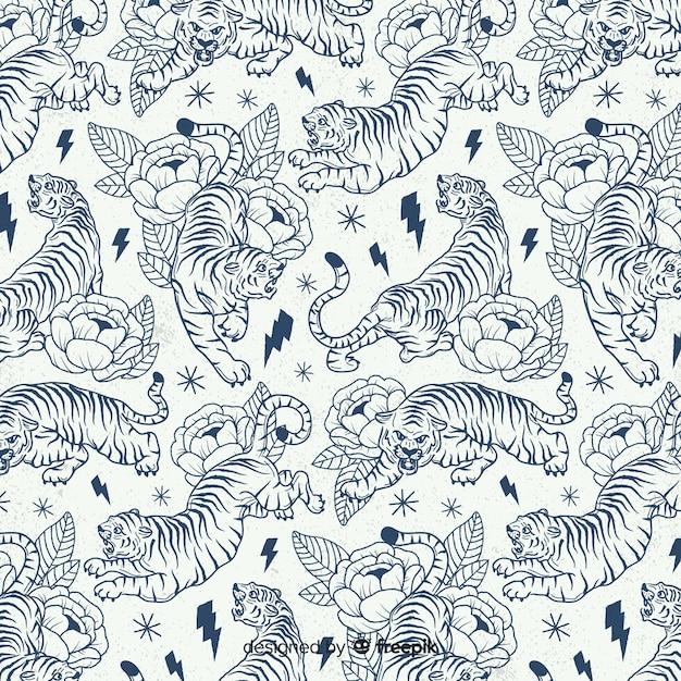 Patrón tigre diseño dibujado a mano Vector Premium